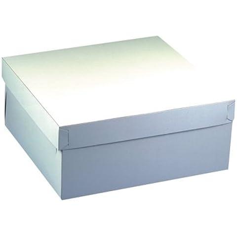 Papstar GmbH 18857 - 10 cajas de cartón cuadradas para tartas con tapadera (30 x 30 x 13cm), color blanco