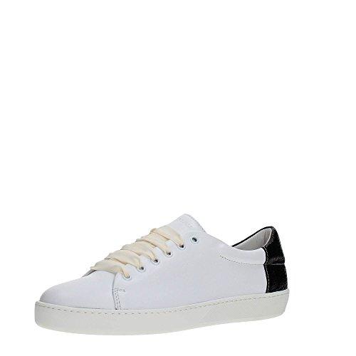 Frau 41A2 Weiß Schwarze Schuhe Turnschuhe Schnürsenkel Leder