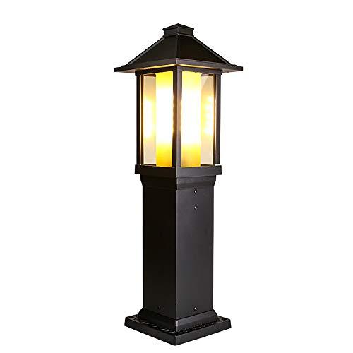 Rishx Lampe de colonne extérieure étanche à la lumière extérieure Continental LED Lampe de colonne étanche à la pluie professionnelle Lampe de porte extérieure étanche à la colonne en aluminium Pelous