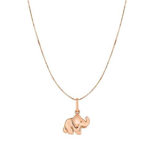 10K oro rosa soporte de elefante colgante 10Kt oro rosa 0,45mm caja cadena collar-46cm