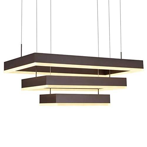 Oevina Modern LED rechteckige kronleuchter, Moderne pendelleuchte deckenleuchte Wohnzimmer Insel Beleuchtung leuchten Restaurant Dekoration Schlafzimmer-weiß 80cm - Moderne Rechteckige Kronleuchter