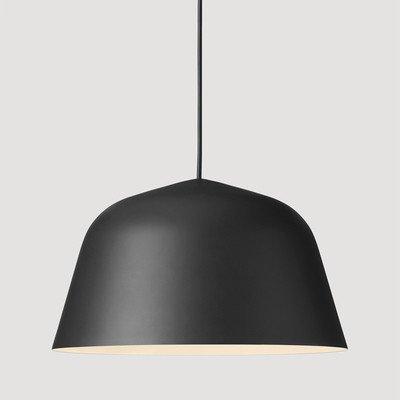 Lx.AZ.Kx E27 Vintage Industrieleuchte Modern Pendelleuchte Europäische moderne Einzel Kopf Aluminum-Style Wohnzimmer Esszimmer Hängeleuchte, Schwarz Große 40 Cm, Lampenschirm aus weißem
