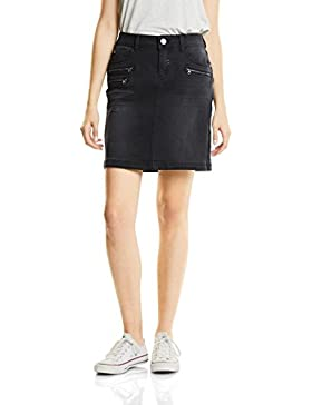 Street One Denim-Skirt Black with Zipper, Falda para Mujer