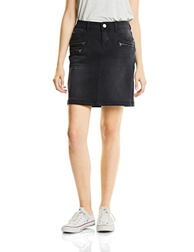 Crinkle-jeans-rock (Street One Damen Rock 360154, Schwarz (Warm Black Washed 11077), 36)