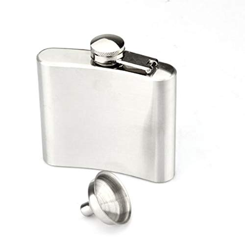 Vosarea Portable 5oz Edelstahl Schnaps Pocket Flachmann mit Mini Trichter (Silber)