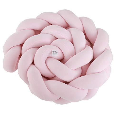 HB.YE Bettumrandung Kinderbett Baby Krippe Baby Nestchen Weben Bettumrandung Kantenschutz Kopfschutz für Babybett Bettausstattung Kinderbett Stoßstange (150cm, Pink)