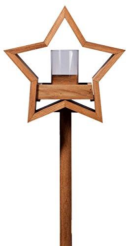Luxus-Vogelhaus 85075e Stern Design, Ständer aus geöltem Eichenholz, Holz mit Silo, 30 x 14 x 152 cm - 3