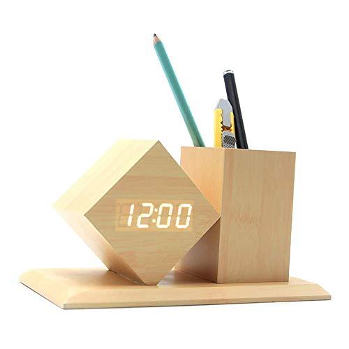 SHIYN Digitale Alarmuhr, Holz LED Light Mini Modern Cube DeskMit Stift-Halter Alarm Uhr Zeitndetageb-Temperatur-Kids, Schlafzimmer, Home, Dormitory. - Halter Stift Uhr