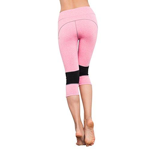 EXIU Femmes Taille haute Fitness YOGA Sport Short Capri stretch Guêtres Rose