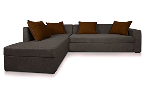 Beanbagwala CAIRO L-Shape-Right Fabric Sofa Set-Grey-Brown