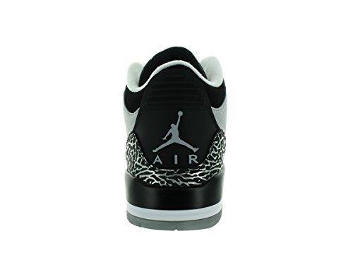Nike Air Jordan 3 Retro, Chaussures de Sport Homme Multicolore - Gris / Plateado / Negro / Blanco (Wolf Grey / Mtllc Slvr-Blck-Wht-)