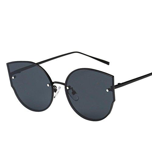 OverDose Unisex Stylish Vintage Classic Metallrahmen Sonnenbrille Katzenaugen Brille Reflektierenden Spiegel (Schwarz)