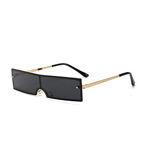 ZHAS High-End-Brille der 90er Jahre Rechteck Sonnenbrille Frauen Vintage kleine Metall Sonnenbrille weibliche Mode Sonnenbrille personalisierte High-End-Sonnenbrille Gold schwarz