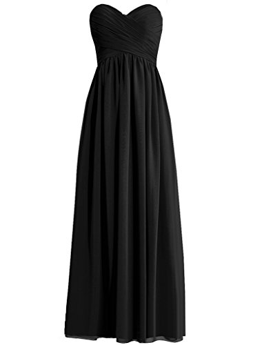 HWAN Frauen eine Linie Schatz Lange Kleid Brautjungfer Abendkleider Schwarz