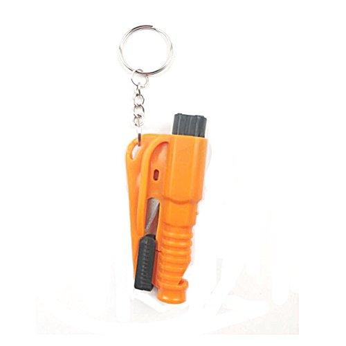 Mini Auto Hammer Notfallhammer mit Gurtschneider, Gurtmesser, Multifunktionen für Auto, Bus in Orange/Grün