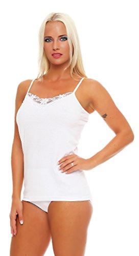 4er, 8er oder 12er Pack feine Spaghettiträger Damen-Unterhemden weiß mit Spitze; 100% gekämmte Baumwolle, Gr. 36/38 bis 56/58 lieferbar 4 Damen Unterhemden 2x2 Pack