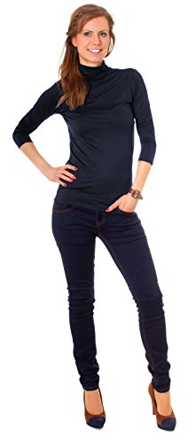 Easy Young Fashion Basic Damen Langarm Shirt Rollkragen One Size Marine