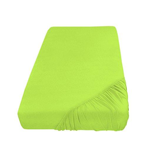 Spannbettlaken Bettlaken 140x200-160x200 cm/Spannbetttuch Spannleintuch aus Jersey Baumwolle in apfelgrün/hellgrün für Standardmatratzen