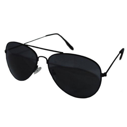 Aviator Style Sunglasses - Unisex Shades Top Gun UV400 Mens Ladies (Black Frame Black Lens)