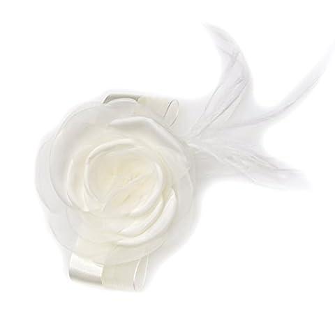 Broche mariage fleur ivoire en tissu organza, taffetas et plume.