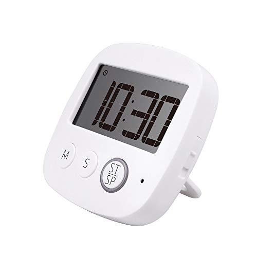 Suzzam Digitaler Küchentimer, multifuncties Timer voor keuken met groter LCD-scherm en luid Alarm en Countdown optellen Functie intrekbare standaard en Haak en magnetische steun met batterij