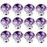 12 Schublade Zieht (firstdecor Kristall Acryl Glas Diamantschliff Regler/Griffe/zieht für Küche Schränke, Schränke, Kleiderschrank, Kommode, Schublade, Schrank, checkroom (Set von 12Pcs) violett)