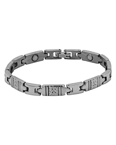 Voylla Textured Designer Band Bracelet In Silver Plating For Men  available at amazon for Rs.649