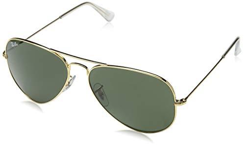 Ray-Ban Unisex Sonnenbrille Aviator Large Metal Gestell: Gold, Gläser: grün klassisch Nicht-polarisiert L0205, (Herstellergröße: 58)