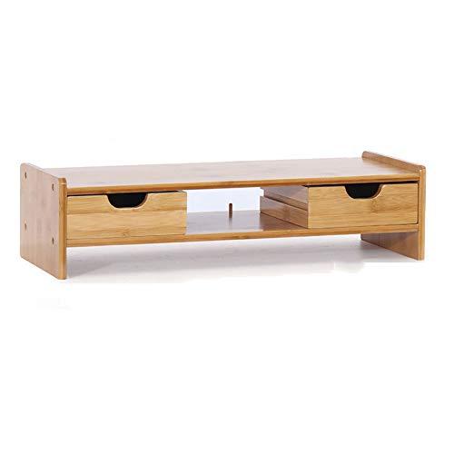 or Ständer mit 2 Auszügen, Holz PC Ständer Desktop Monitor Riser, TV Ständer Schreibtisch Organizer Stauraum für Tastatur und Maus,Oak ()