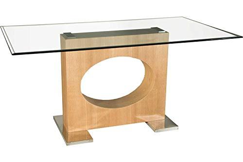 Couchtische Atlanta (Stegert-Design Atlanta-E Eleganter Esstisch in Eiche Echtholz furniert. Tischplatte mit dekorativem Fassettenprofil. Sockelplatten in Edelstahl Klarglas Größe: 160 x 90 cm Rechteckig)