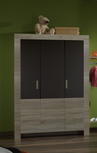 Wimex Kleiderschrank/ Drehtürenschrank Emiliy, 3 Türen, (B/H/T) 135 x 197 x 58 cm, Eiche Sägegrau/ Absetzung Lavafarbig