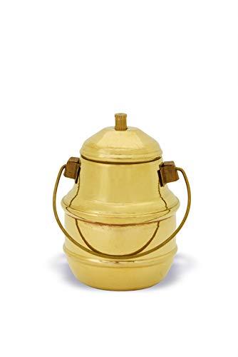 Shripad Steel Home Miniature Brass Milk Can - Golden