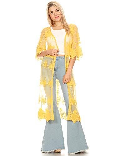 Gelber Kimono (Anna-Kaci Damen Stickerei Halb Ärmel einfarbig Spitze Lange Cardigan Sonnenschutz Jacke Stickjacke)