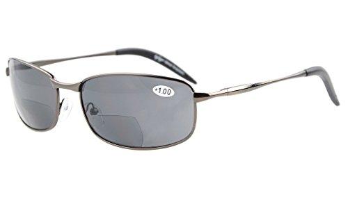 Eyekepper Metallrahmen Fischen Golf Radfahren Fliegen im Freien Bifocal Sonnenbrillen Gunmetal +3.0