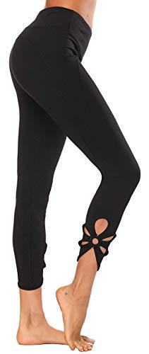 Yavero Damen Sport Leggings High Waist Sporthose Elastische Tummy Control Yogahose