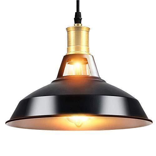 Lightsjoy Lámpara colgantes industrial iluminación de techo vintage negra E27 Edison luces...