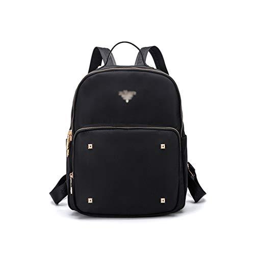KIMSAI Personalisierte Gesteppte lässige Rucksack weiblich Einfache lässige Studententasche Große Kapazität Rucksackack Reisedatsch Leisure Bergsteigertasche Laptop-Tasche,Black,27 * 11 * 34CM -