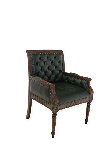 Bürostuhl Besucherstuhl Sessel Bürosessel im Antik Stil mit grünem Leder (8663)