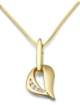 Miore Damen-Kette mit Anhänger Herz 9 Karat Gelbgold Zirkonia 45 cm MM9048ZN