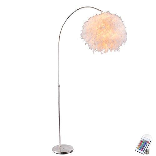 Feder Steh Leuchte weiß verstellbar Ess Zimmer Lampe rund dimmbar im Set inkl RGB LED Leuchtmittel -