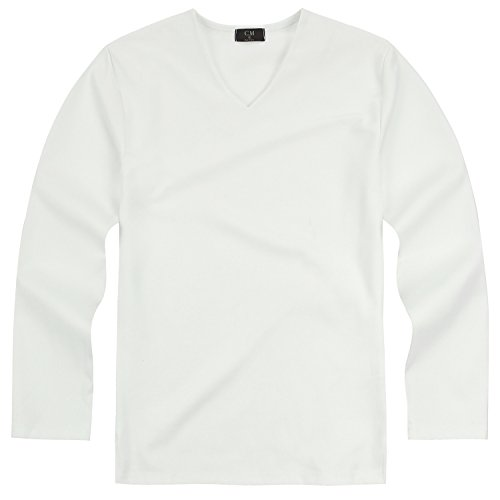8208c8a685e4 ililily Mens Solid Color V Neck Long Sleeve Casual T-Shirt Top Pullover,  White