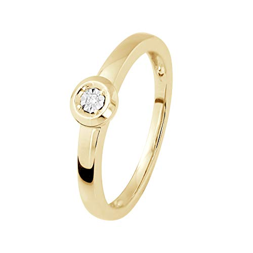 And You - & You - Bague Solitaire DIAMANT 5 mm - 0.010 Cts - Serti Illusion - Or Jaune - Taille 50 - Bijou Femme Prestige