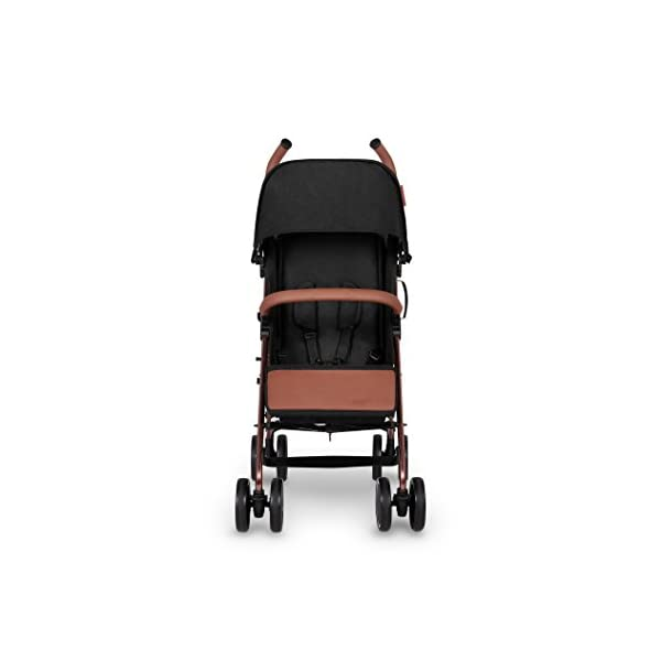 Ickle Bubba Baby Discovery Max Stroller| Lightweight Stroller Pushchair | Compact Fold Technology for Easy Transport and Storage | UPF 50+ Extendable Hood | Black/Rose Gold Ickle Bubba ONE-HANDED 3 POSITION SEAT RECLINE: Baby stroller suitable from 6 months to 22kg. 4 years old; features luxury soft quilted seat liner, footmuff, cupholder, and rain cover UPF 50+ RATED ADJUSTABLE HOOD: Includes a peekaboo window to keep an eye on the little one; extendable hood-UPF rated-to protect against the sun's harmful rays and inclement weather LIGHTWEIGHT DESIGN WITH COMPACT FOLD TECHNOLOGY: Easy to transport, aluminum frame is lightweight and portable-weighs only 7kg; folds compact for storage in small places; carry strap and leather shoulder pad included 10