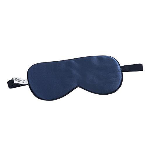 ZIMASILK 100{560dadb1640473ec241131fc2405c85c9a052428537c9240af4e673dd308061b} Seide Schlafbrille leicht - verstellbare Augenbinde für Reise und Zuhause Schlafen -Reine Maulbeerseide Atmungsaktiv Augenmaske mit Samtbeutel(Marineblau)