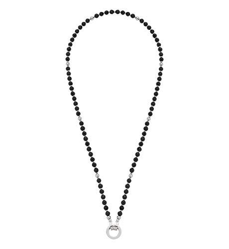 Jewels by Leonardo DARLIN\'S Damen-Halskette Carolina schwarz, Edelstahl mit schwarzen Cat-Eye- und Edelstahl-Perlen, Clip & Mix System, Länge 500 mm