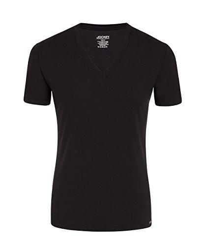 JOCKEY Herren Shirt / Unterhemd V-Neck Single Jersey - Microfiber 2231 - Feinste Microfaser, Farbe Weiss, Schwarz, Gr. S-2XL, Gr. 2XL, Schwarz Verkauf Jockey Unterwäsche