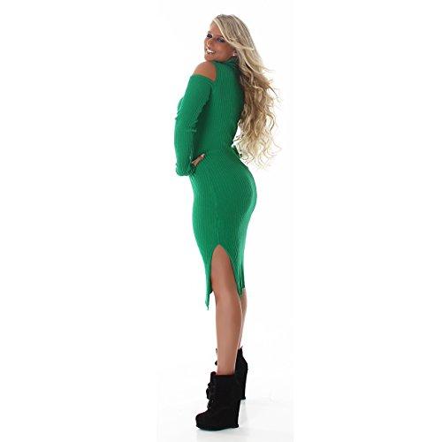 Jela London Femmes robe robe pull longueur genou robe en tricot à col roulé côtelé manches longues vent 36,38,40,42 Chair Vert