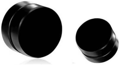 Chandrika Pearls Gems & Jewellers Black Metal Pair Of Barbell Magnetic Stud Earring For Men