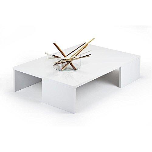 Mobili Fiver Rachele, Tavolino da Salotto, Legno, Bianco Lucido, 90x60x21 cm