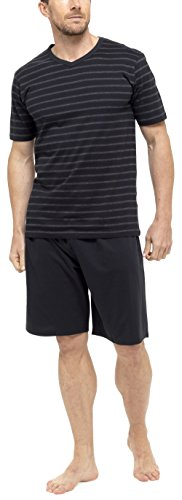 tom-franks-hombre-algodn-de-rayas-jersey-camiseta-pijama-corto-negro-gris-brezo-x-large